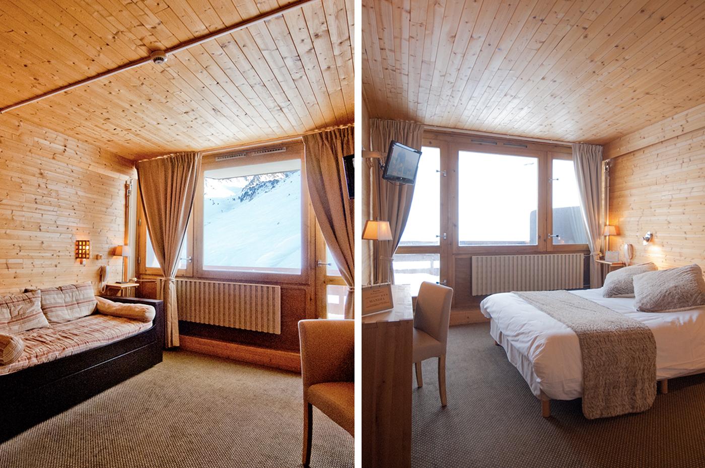 Suite avec 2 lits doubles et vue sur les pistes